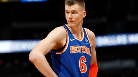 <p>               FILE - In this Jan. 25, 2018, file photo, New York Knicks forward Kristaps Porzingis, of Latvia, reacts after fouling out during the second half of the team's NBA basketball game against the Denver Nuggets on Thursday,, in Denver. The Knicks agree to trade injured star Kristaps Porzingis to Dallas Mavericks on Thursday, Jan. 31, 2019. (AP Photo/David Zalubowski, File)             </p>