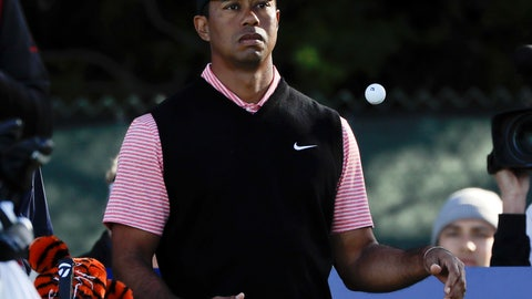 <p>               Tiger Woods waits to hit his tee shot on the 11th hole of the South Course at Torrey Pines Golf Course during the final round of the Farmers Insurance golf tournament Sunday, Jan. 27, 2019, in San Diego. (AP Photo/Gregory Bull)             </p>
