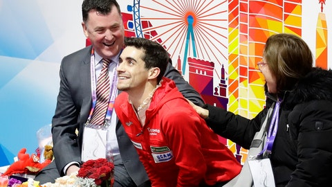 <p>               Spain's Javier Fernandez, center, reacts after performing in the men's free skating at the ISU European figure skating championships in Minsk, Belarus, Saturday, Jan. 26, 2019. (AP Photo/Sergei Grits)             </p>