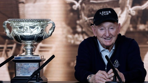 <p>               Rod Laver addresses a press conference at the Australian Open tennis championships in Melbourne, Australia, Wednesday, Jan. 23, 2019.It has been 50 years since Laver won all four major tennis tournaments in one season for a true Grand Slam. That 1969 feat was the second time he had done it. No man has won all four majors in one season since.(AP Photo/Kin Cheung)             </p>