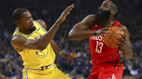 <p>               Golden State Warriors' Kevin Durant, left, defends against Houston Rockets' James Harden during the first half of an NBA basketball game Thursday, Jan. 3, 2019, in Oakland, Calif. (AP Photo/Ben Margot)             </p>