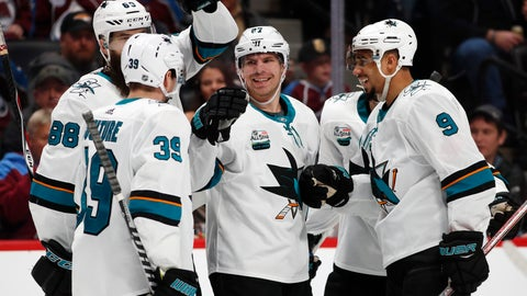 <p>               San Jose Sharks right wing Joonas Donskoi, third from left, is congratulated after scoring a goal by teammates, from left, center Logan Couture, defenseman Brent Burns and left wing Evander Kane in the second period of an NHL hockey game against the Colorado Avalanche Wednesday, Jan. 2, 2019, in Denver. (AP Photo/David Zalubowski)             </p>