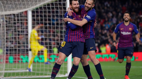 <p>               FC Barcelona's Lionel Messi, left, celebrates with his teammate Jordi Alba after scoring during the Spanish La Liga soccer match between FC Barcelona and Leganes at the Camp Nou stadium in Barcelona, Spain, Sunday, Jan. 20, 2019. (AP Photo/Manu Fernandez)             </p>