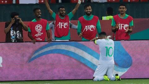 <p>               Saudi Arabia's midfielder Salem al Dawsari celebrates his goal during the AFC Asian Cup group E soccer match between Saudi Arabia and North Korea at the Rashid Stadium in Dubai, United Arab Emirates, Tuesday, Jan. 8, 2019. (AP Photo/Nariman El-Mofty)             </p>