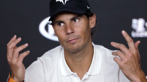 <p>               Spain's Rafael Nadal gestures at a press conference after losing to Serbia's Novak Djokovic in the men's singles final at the Australian Open tennis championships in Melbourne, Australia, Sunday, Jan. 27, 2019. (AP Photo/Kin Cheung)             </p>
