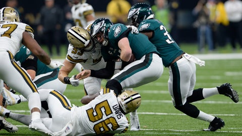 <p>               FILE - In this Nov. 18, 2018, file photo, Philadelphia Eagles quarterback Carson Wentz is sacked by New Orleans Saints outside linebacker A.J. Klein (53) and outside linebacker Demario Davis (56) in the first half of an NFL football game in New Orleans. Klein says the Eagles hardly resemble the team that lost 48-7 to New Orleans in mid-November. Klein says the defending Super Bowl champion Eagles have shown their ability to win in the postseason. (AP Photo/Bill Feig, File)             </p>