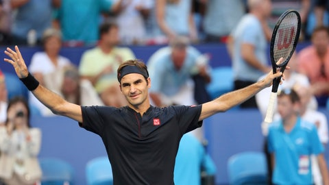 <p>               Switzerland's Roger Federer celebrates his win over Alexander Zverev of Germany in their final match at the Hopman Cup tennis tournament in Perth, Australia, Saturday Jan. 5, 2019. (AP Photo/Trevor Collens)             </p>