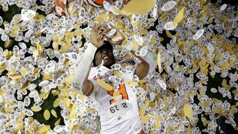 <p>               Clemson's Travis Etienne celebrates after the NCAA college football playoff championship game against Alabama, Monday, Jan. 7, 2019, in Santa Clara, Calif. Clemson beat Alabama 44-16. (AP Photo/David J. Phillip)             </p>