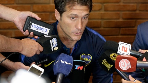 <p>               FILE - In this Nov. 25, 2018, file photo, Boca Juniors' coach Guillermo Barros Schelotto speaks during a press conference in Buenos Aires, Argentina. Schelotto has been named the LA Galaxy's new head coach. The five-time MLS champion franchise announced the move Wednesday, Jan. 2, 2019.  (AP Photo/Natacha Pisarenko, File)             </p>