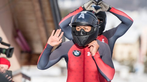 <p>               The Team Elana Meyers Taylor, front, and Lauren Gibbs from USA reacts at the Women two Bob Sledge World Cup in St. Moritz, Switzerland, on Saturday, Jan. 26, 2019. (Urs Flueeler/Keystone via AP)             </p>