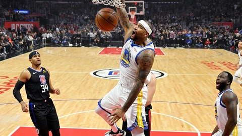 <p>               Golden State Warriors center DeMarcus Cousins, center, dunks as Los Angeles Clippers forward Tobias Harris, left, and Warriors forward Draymond Green watch during the first half of an NBA basketball game Friday, Jan. 18, 2019, in Los Angeles. (AP Photo/Mark J. Terrill)             </p>
