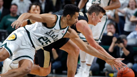 <p>               Purdue's Grady Eifert, right, and Michigan State's Kenny Goins (25) vie for a loose ball during the first half of an NCAA college basketball game, Tuesday, Jan. 8, 2019, in East Lansing, Mich. (AP Photo/Al Goldis)             </p>