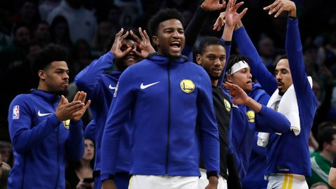 <p>               Golden State Warriors bench players celebrate late in the fourth quarter of an NBA basketball game against the Boston Celtics, Saturday, Jan. 26, 2019, in Boston. (AP Photo/Elise Amendola)             </p>