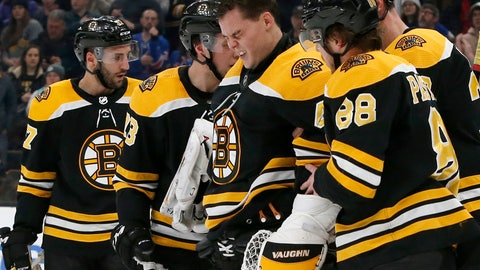 <p>               Boston Bruins goaltender Tuukka Rask (40) is helped off the ice after taking a hit on a goal by New York Rangers center Filip Chytil during the first period of an NHL hockey game, Saturday, Jan. 19, 2019, in Boston. (AP Photo/Mary Schwalm)             </p>