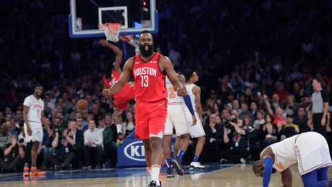 <p>               Houston Rockets' James Harden (13) reacts after teammate Kenneth Faried (35) dunked the ball during the second half of the team's NBA basketball game against the New York Knicks on Wednesday, Jan. 23, 2019, in New York. Harden scored 61 points as the Rockets won 114-110. (AP Photo/Frank Franklin II)             </p>