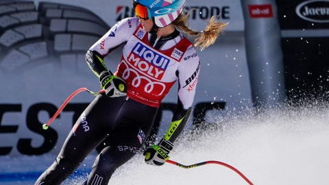 <p>               United States' Mikaela Shiffrin looks at the scoreboard after completing an alpine ski, women's World Cup super-G in Cortina D'Ampezzo, Italy, Sunday, Jan. 20, 2019. (AP Photo/Giovanni Auletta)             </p>