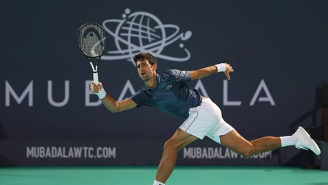 <p>               Serbia's Novak Djokovic returns the ball to South Africa's Kevin Anderson during the final match of the Mubadala World Tennis Championship in Abu Dhabi, United Arab Emirates, Saturday, Dec. 29, 2018. (AP Photo/Kamran Jebreili)             </p>