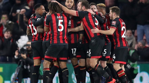 <p>               Bournemouth's Joshua King, cente, celebrates scoring his side's third goal of the game against Chelsea during their English Premier League soccer match at the Vitality Stadium in Bournemouth, Wednesday Jan. 30, 2019. (Andrew Matthews/PA via AP)             </p>
