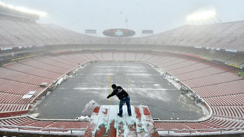 <p>               Kyle Haraugh, of NFL Films, clears snow from a camera location at Arrowhead Stadium before an NFL divisional football playoff game between the Kansas City Chiefs and the Indianapolis Colts, in Kansas City, Mo., Saturday, Jan. 12, 2019. (AP Photo/Ed Zurga)             </p>