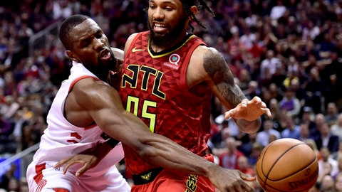 <p>               Toronto Raptors forward Serge Ibaka (9) knocks the ball from Atlanta Hawks forward DeAndre Bembry (95) during the second half of an NBA basketball game Tuesday, Jan. 8, 2019, in Toronto. (Frank Gunn/The Canadian Press via AP)             </p>