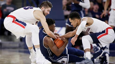 <p>               Gonzaga forward Killian Tillie, left, and guard Geno Crandall, right, tie up Loyola Marymount guard James Batemon during the first half of an NCAA college basketball game in Spokane, Wash., Thursday, Jan. 17, 2019. (AP Photo/Young Kwak)             </p>