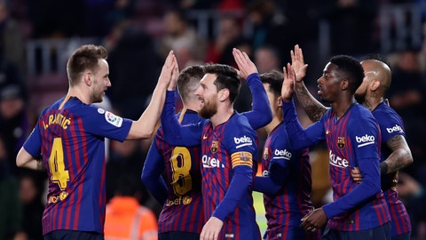 <p>               FC Barcelona's Dembele, right, celebrates after scoring with teammates his side's second goal during a Spanish Copa del Rey soccer match between FC Barcelona and Levante at the Camp Nou stadium in Barcelona, Spain, Thursday, Jan. 17, 2019. (AP Photo/Manu Fernandez)             </p>