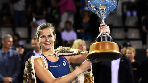 <p>               Germany's Julia Goerges holds the trophy after winning the singles final of the ASB Classic tennis tournament in Auckland, New Zealand, Sunday, Jan. 6, 2019. (AP Photo/Chris Symes)             </p>
