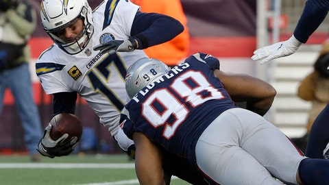 <p>               New England Patriots defensive end Trey Flowers (98) sacks Los Angeles Chargers quarterback Philip Rivers during the second half of an NFL divisional playoff football game, Sunday, Jan. 13, 2019, in Foxborough, Mass. (AP Photo/Steven Senne)             </p>