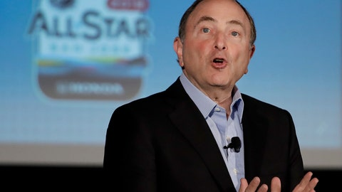 <p>               NHL Commissioner Gary Bettman speaks at a news conference in San Jose, Calif., Friday, Jan. 25, 2019. The NHL All Star Game is scheduled for Saturday afternoon. (AP Photo/Ben Margot)             </p>