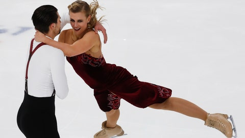 <p>               Madison Hubbell and Zachary Donohue perform their rhythm dance program at the U.S. Figure Skating Championships, Friday, Jan. 25, 2019, in Detroit. (AP Photo/Paul Sancya)             </p>