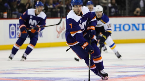<p>               New York Islanders right wing Jordan Eberle (7) takes the puck to the St. Louis Blues goal during the second period of an NHL hockey game, Tuesday, Jan. 15, 2019, in New York. (AP Photo/Kevin Hagen)             </p>