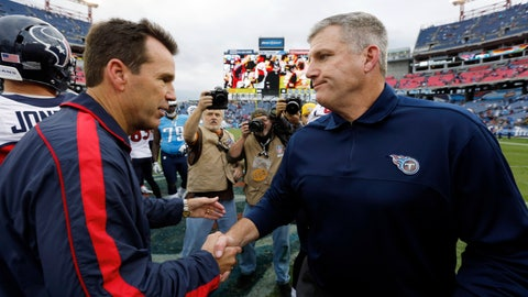 <p>               FILE - In this Dec. 2, 2012 file photo Tennessee Titans head coach Mike Munchak, right, congratulates Houston Texans head coach Gary Kubiak after an NFL football game in Nashville, Tenn. Munchak, who had been a finalist for the Denver Broncos head coaching job, is making a lateral move from the Pittsburgh Steelers to serve as the Broncos' new offensive line coach, a person with knowledge of the agreement told The Associated Press on Monday, Jan. 14, 2019. The person also said the Broncos are allowing Gary Kubiak to interview elsewhere and have received permission to interview 49ers QBs coach Rich Scangarello for their offensive coordinator opening. (AP Photo/Joe Howell)             </p>