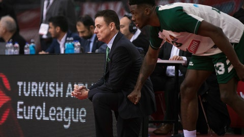 <p>               Panathinaikos coach Rick Pitino, left, looks on next to player Thanasis Antetokounmpo, right, during a Euroleague basketball match between Panathinaikos and Olympiakos in Piraeus near Athens, on Friday, Jan. 4, 2019. (AP Photo/Petros Giannakouris)             </p>