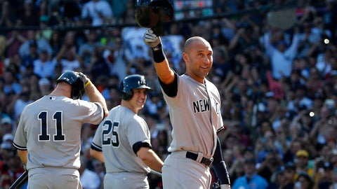 <p>               FILE - In this Sunday, Sept. 28, 2014 file photo, New York Yankees designated hitter Derek Jeter tips his cap to the crowd at Fenway Park after coming out of the baseball game for a pinch-runner in the third inning against the Boston Red Sox in a baseball game in Boston. At left are teammates Brett Gardner (11) and Mark Teixeira (25). Jeter headlines the group of candidates who will be eligible for the Hall of Fame for the first time next season in 2020, and now that Mariano Rivera has become the first player to be elected unanimously, it won't be a surprise if another transcendent star does the same. (AP Photo/Elise Amendola, File)             </p>