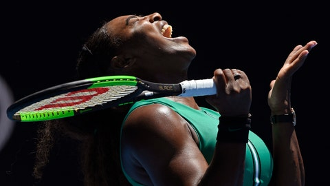 <p>               United States' Serena Williams reacts after losing a point to Karolina Pliskova of the Czech Republic during their quarterfinal match at the Australian Open tennis championships in Melbourne, Australia, Wednesday, Jan. 23, 2019. (AP Photo/Andy Brownbill)             </p>