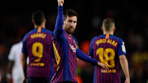 <p>               FC Barcelona's Lionel Messi, centre, celebrates after scoring his side's second goal during the Spanish La Liga soccer match between FC Barcelona and Eibar at the Camp Nou stadium in Barcelona, Spain, Sunday, Jan. 13, 2019. (AP Photo/Manu Fernandez)             </p>