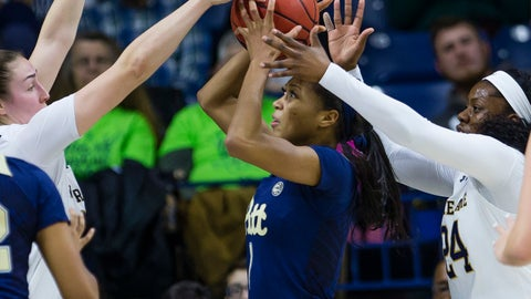 <p>               Pittsburgh's Danielle Garven (1) tries to shoot while defended by Notre Dame's Jessica Shepard, left, and Arike Ogunbowale (24) during an NCAA college basketball game Thursday, Jan. 3, 2019, in South Bend, Ind. (Michael Caterina/South Bend Tribune via AP)             </p>