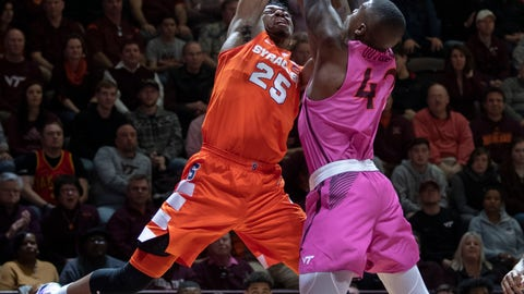 <p>               Syracuse guard Tyus Battle (25) shoots against Virginia Tech guard Ty Outlaw (42) during the first half of an NCAA college basketball game Saturday, Jan. 26, 2019, in Blacksburg, Va. (AP Photo/Don Petersen)             </p>