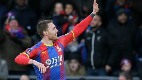 <p>               Crystal Palace's Connor Wickham celebrates after scoring the opening goal during an English FA Cup fourth round soccer match between Crystal Palace and Tottenham Hotspur at Selhurst Park in London, Sunday, Jan. 27, 2019. (AP Photo/Tim Ireland)             </p>