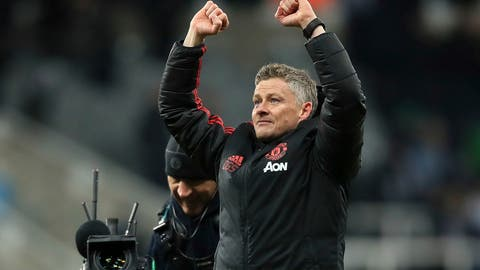 <p>               Manchester United interim manager Ole Gunnar Solskjaer reacts after the final whistle of a Premier League soccer match against Newcastle United at St James' Park, Wednesday, Jan. 2, 2019, in Newcastle, England. Manchester United won 2-0. (Owen Humphreys/PA via AP)             </p>