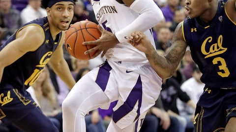 <p>               Washington's Jaylen Nowell, center, drives between California's Justice Sueing, left, and Paris Austin during the first half of an NCAA college basketball game Saturday, Jan. 19, 2019, in Seattle. (AP Photo/Elaine Thompson)             </p>
