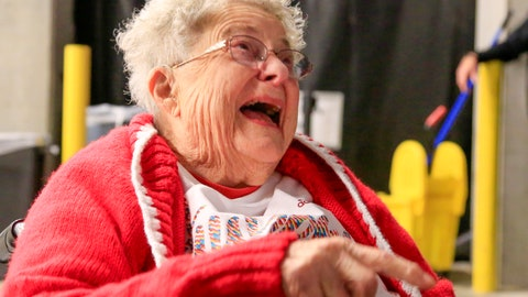 <p>               98-year-old Florence Dalby demonstrates her ritual every time a Nebraska player shoots a free throw, where she points her right index finger at him, moving it back and forth to telegraph positive vibes, during an interview with the Associated Press before an NCAA college basketball game between Ohio State and Nebraska in Lincoln, Neb., Saturday, Jan. 26, 2019. Dalby is a University of Nebraska Lincoln graduate and has had a men's basketball season ticket for more than 80 years. Dalby loves Nebraska as much today as she did when she first started going to games in 1939. The Cornhuskers honored her during their Coaches Vs. Cancer game against Ohio State. (AP Photo/Nati Harnik)             </p>