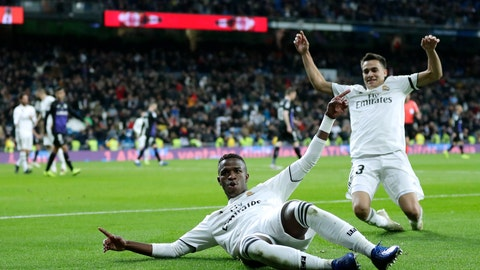 <p>               Real Madrid's Vinicius Jr, left, celebrates after scoring during a Spanish Copa del Rey soccer match between Real Madrid and Leganes at the Bernabeu stadium in Madrid, Spain, Wednesday, Jan. 9, 2019. (AP Photo/Manu Fernandez)             </p>