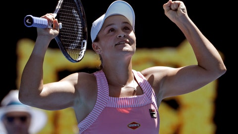 <p>               Australia's Ashleigh Barty celebrates after defeating Russia's Maria Sharapova in their fourth round match at the Australian Open tennis championships in Melbourne, Australia, Sunday, Jan. 20, 2019. (AP Photo/Mark Schiefelbein)             </p>