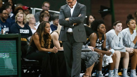 <p>               Connecticut coach Geno Auriemma walks in front of the bench during the first half of the team's NCAA college basketball game against Baylor on Thursday, Jan. 3, 2019, in Waco, Texas. Baylor defeated No. 1 Connecticut 68-57. (AP Photo/Ray Carlin)             </p>