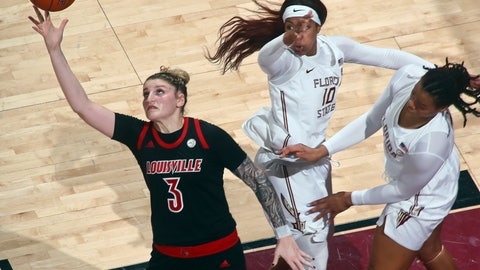 <p>               Louisville forward Sam Fuehring (3) reaches for a loose ball as Florida State guard Kourtney Weber (10) and forward Valencia Myers (32) defend during the first half of an NCAA college basketball game in Tallahassee, Fla., Thursday, Jan. 24, 2019. (AP Photo/Phil Sears)             </p>