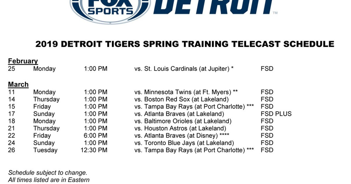 graphic regarding Atlanta Braves Tv Schedule Printable called FOX Sports activities Detroit announces Tigers Spring Working out Television set
