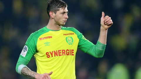 <p>               In this his picture taken on Jan. 14, 2018, Argentine soccer player, Emiliano Sala, of the FC Nantes club, western France, gives a thumbs up during a soccer match against PSG in Nantes, France. The French civil aviation authority says Emiliano Sala was aboard a small passenger plane that went missing off the coast of the island of Guernsey. (AP Photo/David Vincent)             </p>