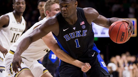 <p>               Duke's Zion Williamson (1) is defended by Notre Dame's Dane Goodwin (23) during the first half of an NCAA college basketball game Monday, Jan. 28, 2019, in South Bend, Ind. (AP Photo/Robert Franklin)             </p>
