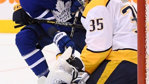 <p>               Toronto Maple Leafs right wing Connor Brown (28) is stopped by Nashville Predators goaltender Pekka Rinne (35) during second-period NHL hockey game action in Toronto, Monday, Jan. 7, 2019. (Nathan Denette/The Canadian Press via AP)             </p>